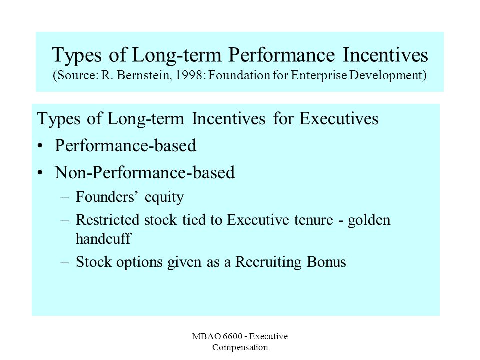 MBAO Executive Compensation Types of Long-term Performance Incentives (Source: R.