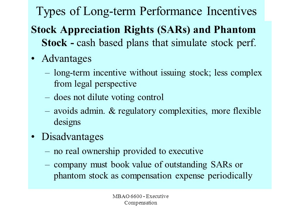MBAO 6600 - Executive Compensation Types of Long-term Performance Incentives Stock Appreciation Rights (SARs) and Phantom Stock - cash based plans that simulate stock perf.