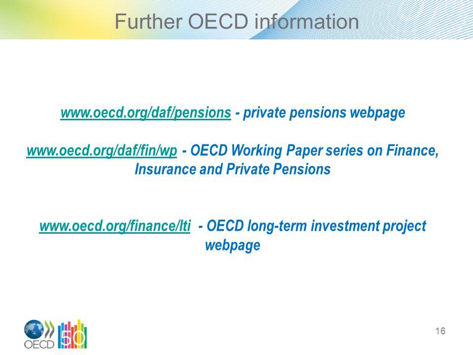 Further OECD information 16 www.oecd.org/daf/pensionswww.oecd.org/daf/pensions - private pensions webpage www.oecd.org/daf/fin/wpwww.oecd.org/daf/fin/