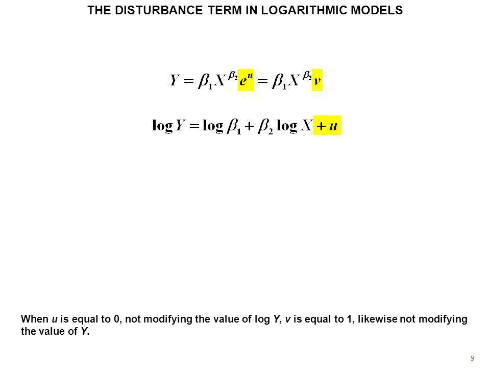 9 When u is equal to 0, not modifying the value of log Y, v is equal to 1, likewise not modifying the value of Y. THE DISTURBANCE TERM IN LOGARITHMIC