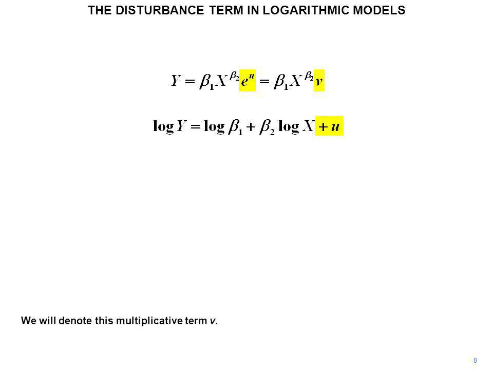 9 When u is equal to 0, not modifying the value of log Y, v is equal to 1, likewise not modifying the value of Y.