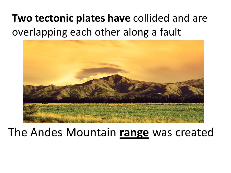 The Andes Mountain range was created Two tectonic plates have collided and are overlapping each other along a fault