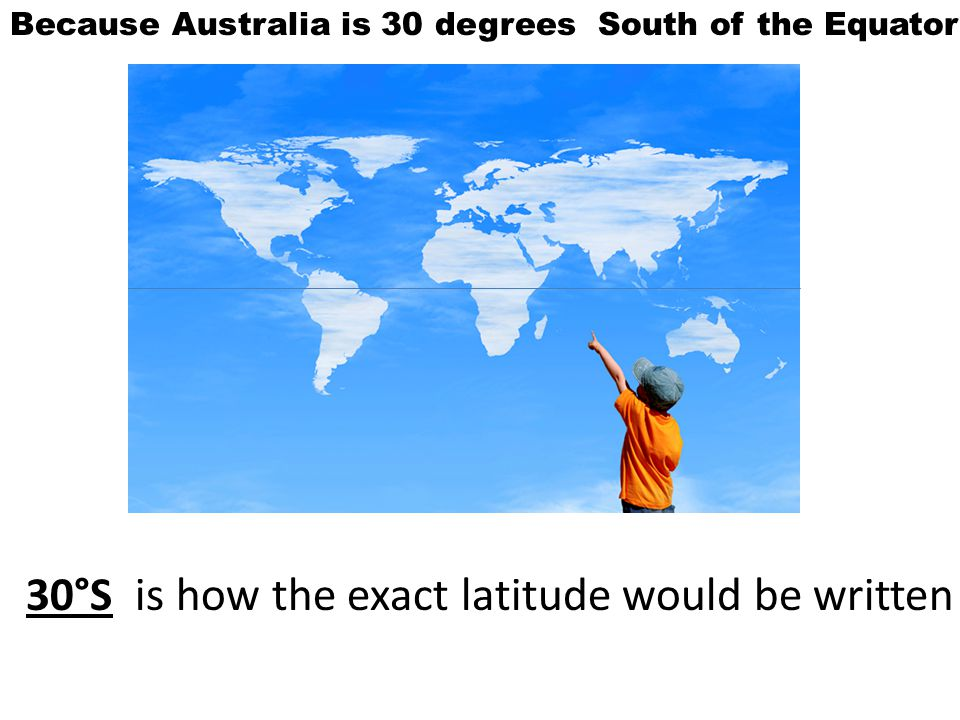 Because Australia is 30 degrees South of the Equator 30°S is how the exact latitude would be written