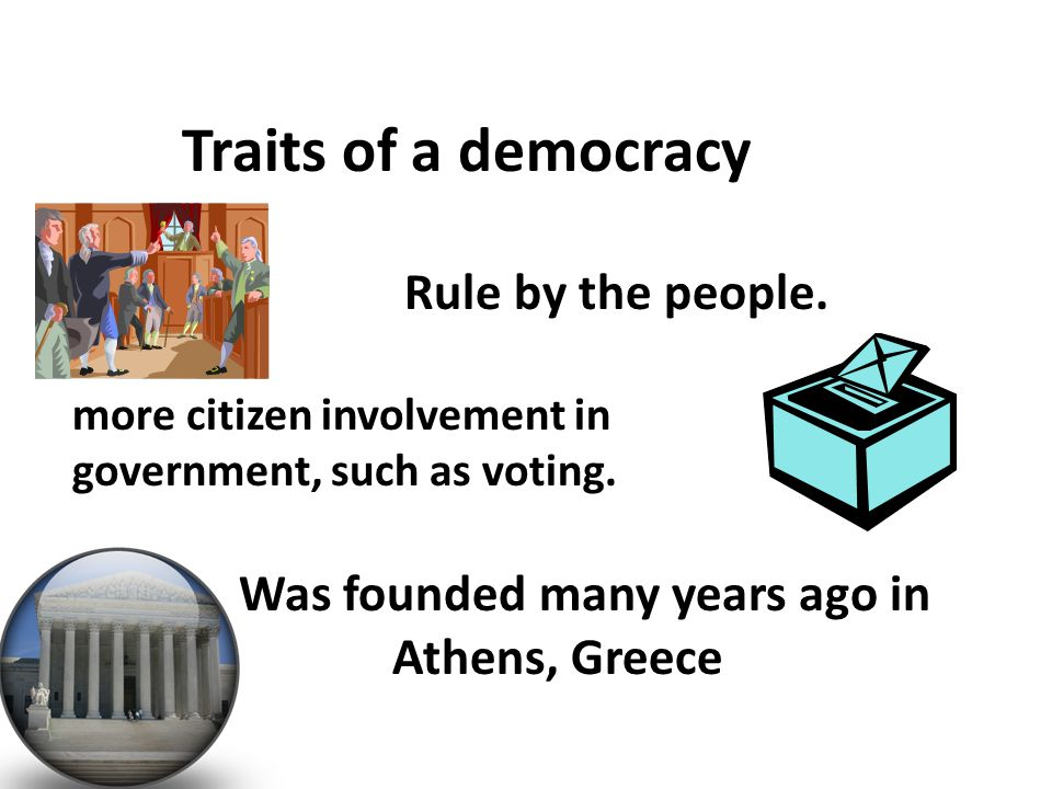 Direct Democracy started in Greece- Rome had a representative Democracy- England used Democratic ideas- Democracy formed in America.