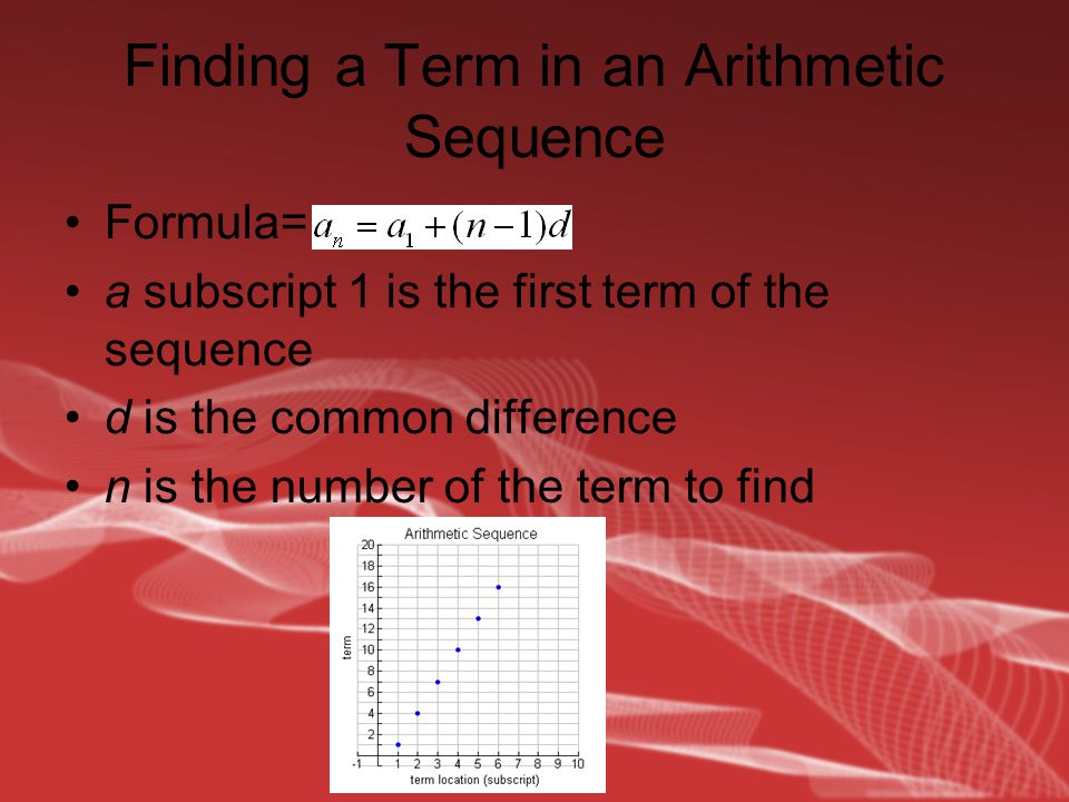Finding a term in a geometric sequence Formula= a subscript 1 is the first term of the sequence r is the common ratio n is the number of the term to find Limit= 0 And Infinity+1