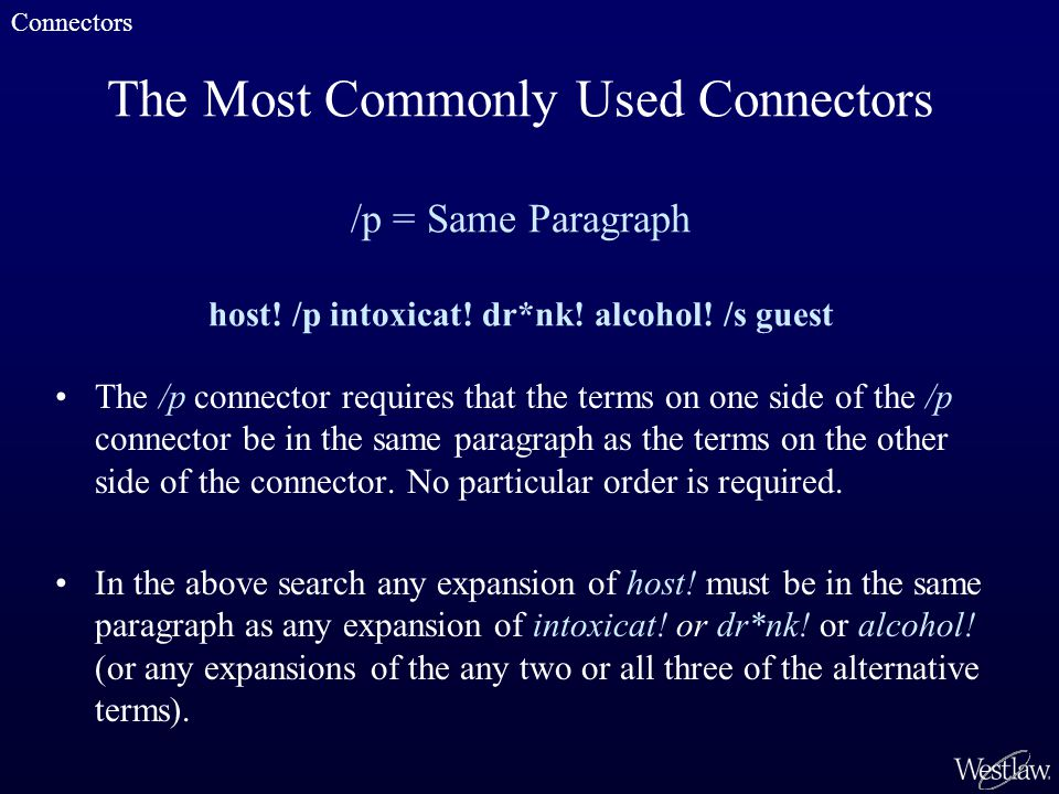 The Most Commonly Used Connectors /p = Same Paragraph host.