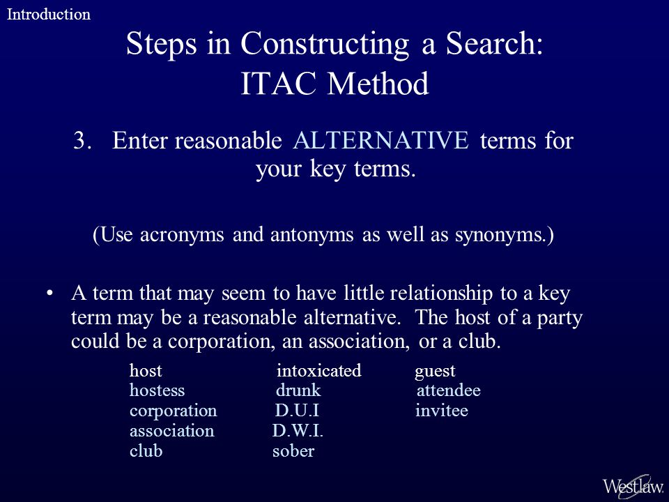 Steps in Constructing a Search: ITAC Method 3.