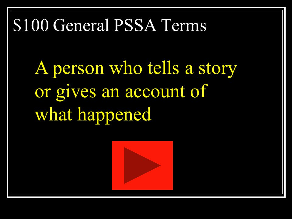 PSSA Vocabulary Jeopardy General Literary Devices Analysis Open Ended Nonfiction Genres Q $100 Q $200 Q $300 Q $400 Q $500 Q $100 Q $200 Q $300 Q $400