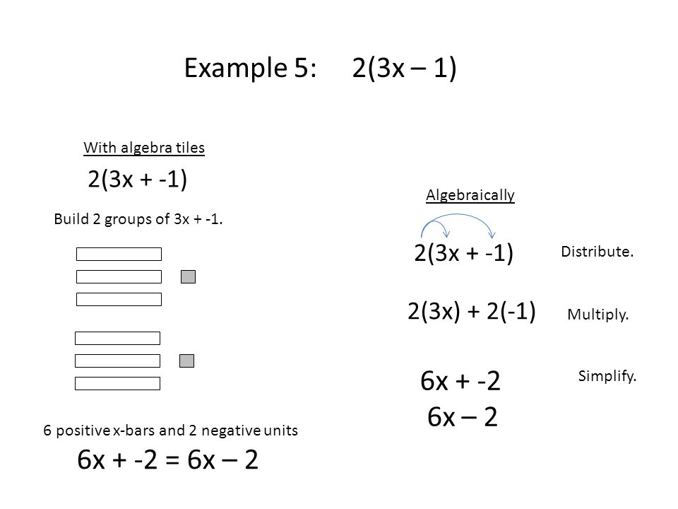 Example 5: 2(3x – 1) Algebraically Distribute. Multiply.