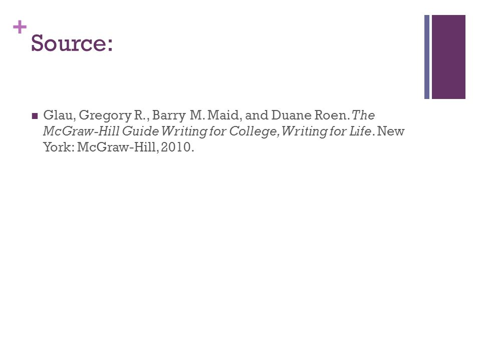 + Source: Glau, Gregory R., Barry M. Maid, and Duane Roen. The McGraw-Hill Guide Writing for College, Writing for Life. New York: McGraw-Hill, 2010.