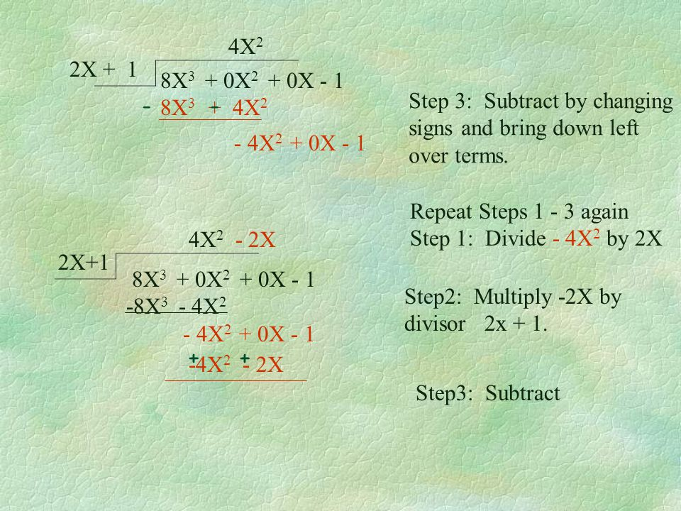 8X 3 + 0X 2 + 0X - 1 2X + 1 4X 2 We are not finished yet so continue onto the next page! Example 3: Divide 8X 3 - 1 2X + 1 Set up the long division pr