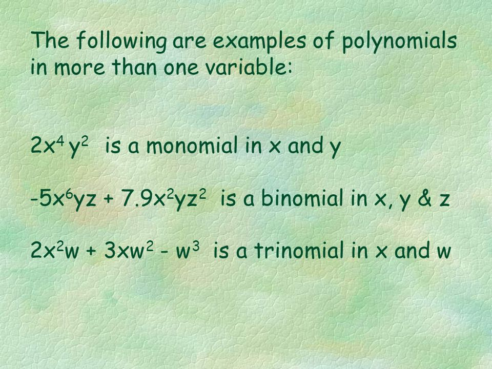 The following are examples of polynomials in more than one variable: 2x 4 y 2 is a monomial in x and y -5x 6 yz + 7.9x 2 yz 2 is a binomial in x, y & z 2x 2 w + 3xw 2 - w 3 is a trinomial in x and w
