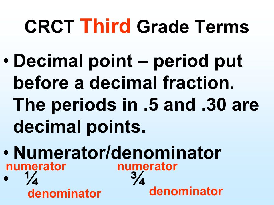 Decimal point – period put before a decimal fraction.