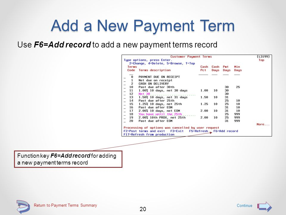 Add a New Payment Term Provides the ability for a user to add new payment terms records to the customer payment terms file 19