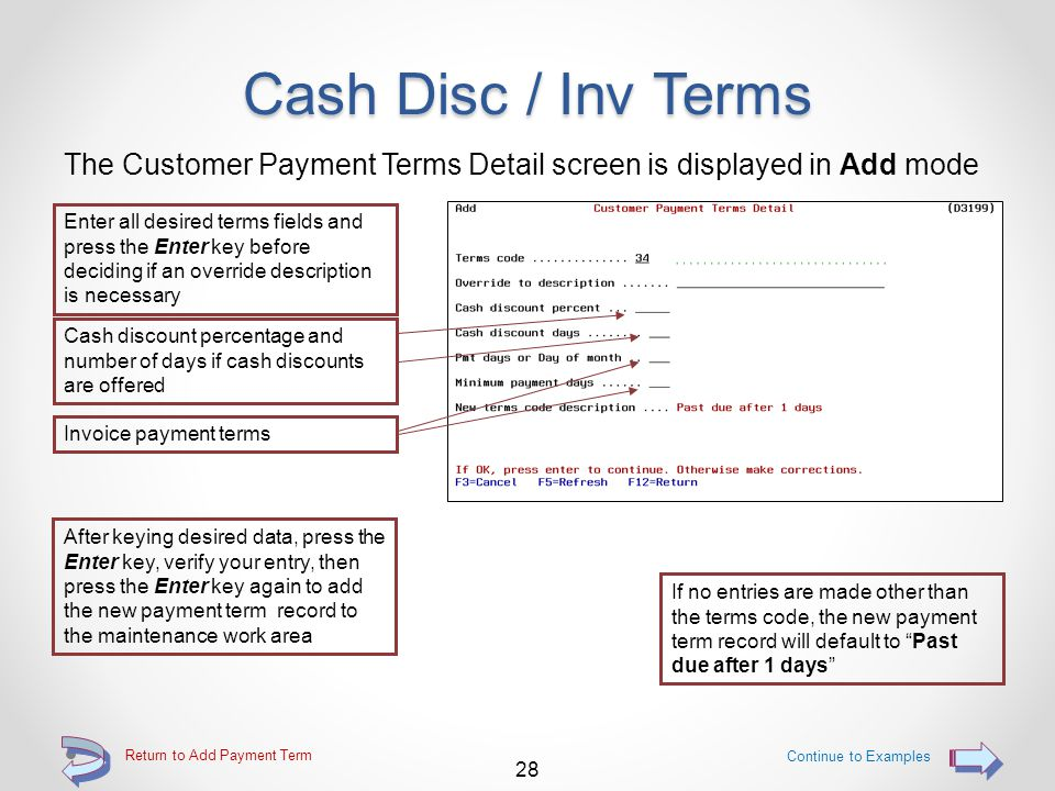 Cash Disc / Inv Terms The Customer Payment Terms Detail screen is displayed in Add mode The terms code for non-immediate payment terms must be a numbe