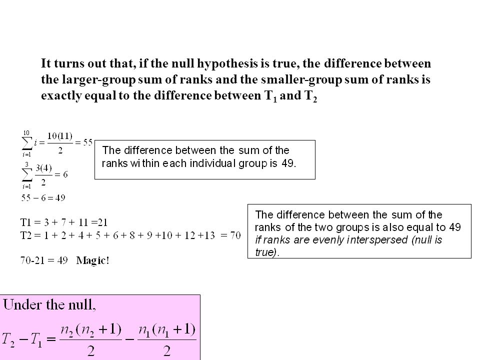 It turns out that, if the null hypothesis is true, the difference between the larger-group sum of ranks and the smaller-group sum of ranks is exactly equal to the difference between T 1 and T 2