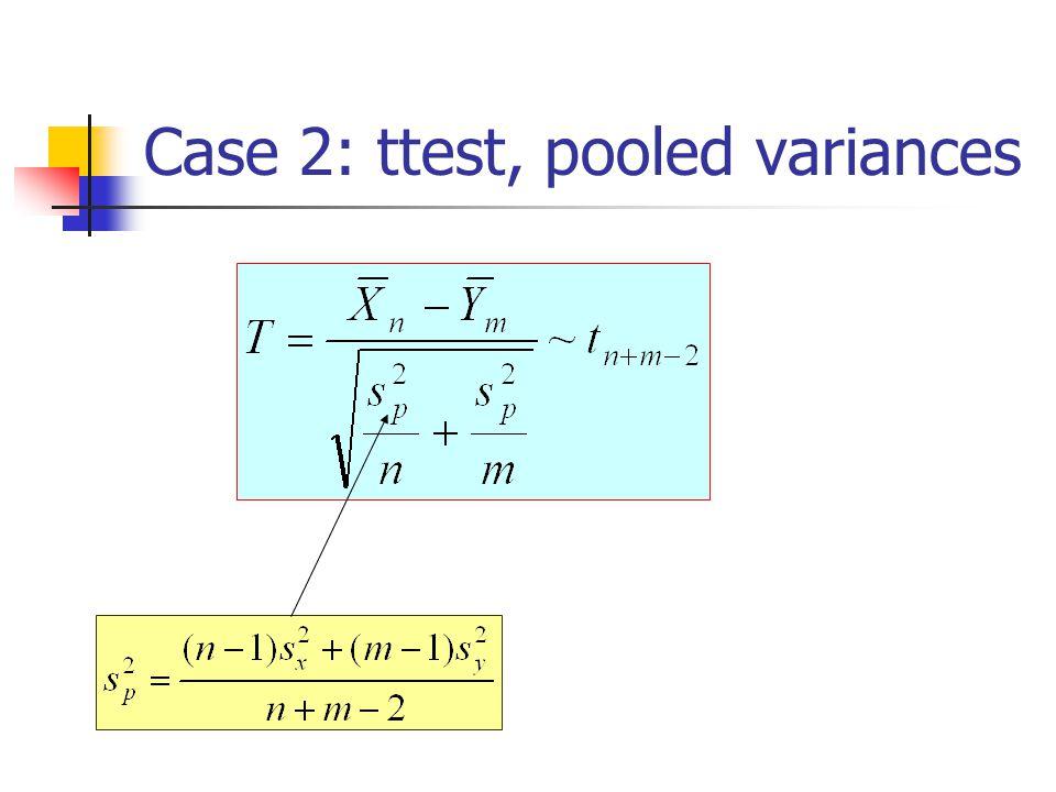Case 2: ttest, pooled variances