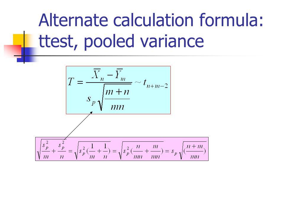 Alternate calculation formula: ttest, pooled variance