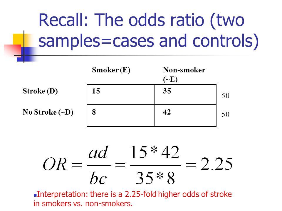 Recall: The odds ratio (two samples=cases and controls) Smoker (E)Non-smoker (~E) Stroke (D)1535 No Stroke (~D)842 50 Interpretation: there is a 2.25-
