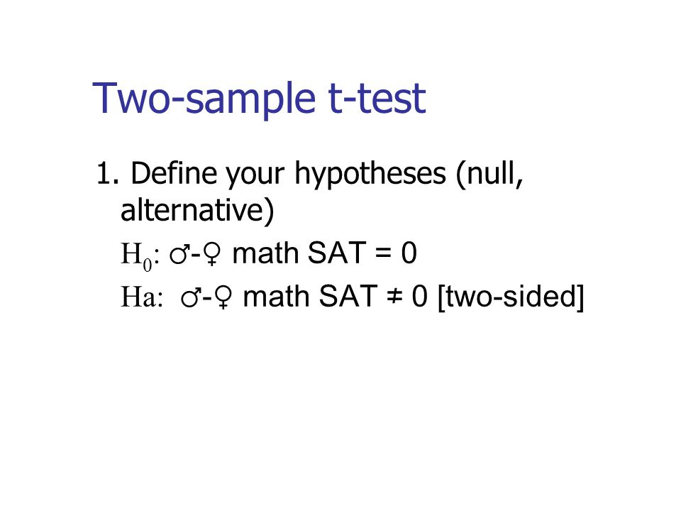 Two-sample t-test 1.