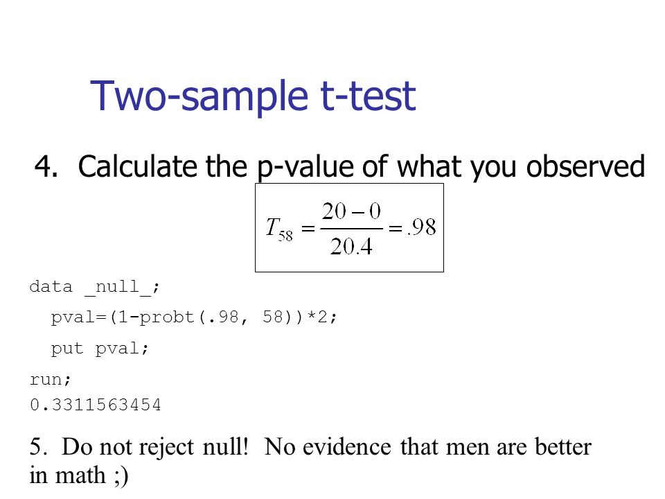 Two-sample t-test 4. Calculate the p-value of what you observed data _null_; pval=(1-probt(.98, 58))*2; put pval; run; 0.3311563454 5. Do not reject n