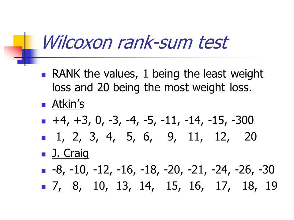 Wilcoxon rank-sum test RANK the values, 1 being the least weight loss and 20 being the most weight loss.
