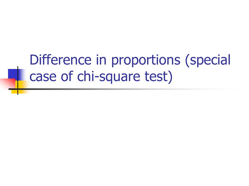 Difference in proportions (special case of chi-square test)
