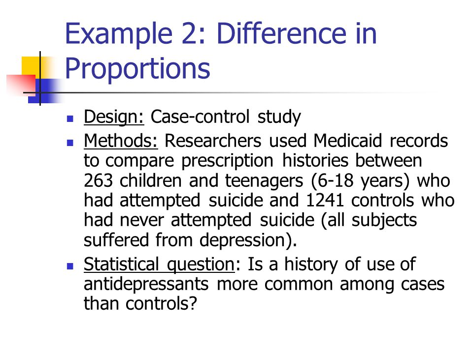 Example 2: Difference in Proportions Design: Case-control study Methods: Researchers used Medicaid records to compare prescription histories between 2