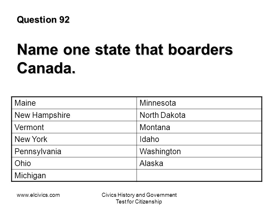 www.elcivics.comCivics History and Government Test for Citizenship Question 92 Name one state that boarders Canada.