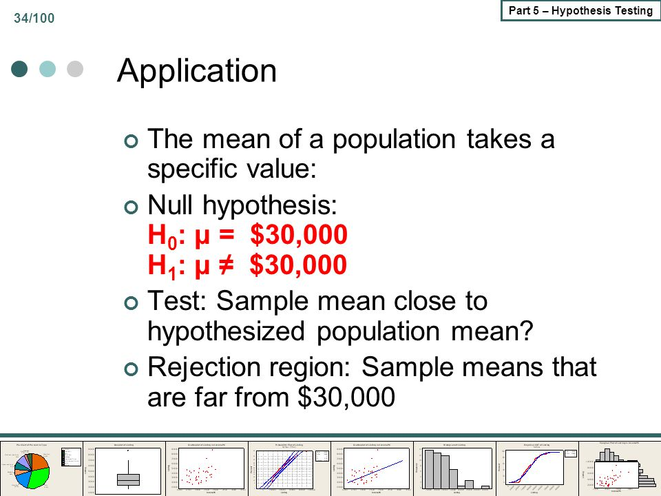 34/100 Part 5 – Hypothesis Testing Application The mean of a population takes a specific value: Null hypothesis: H 0 : μ = $30,000 H 1 : μ ≠ $30,000 T