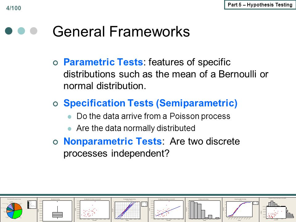 4/100 Part 5 – Hypothesis Testing General Frameworks Parametric Tests: features of specific distributions such as the mean of a Bernoulli or normal di
