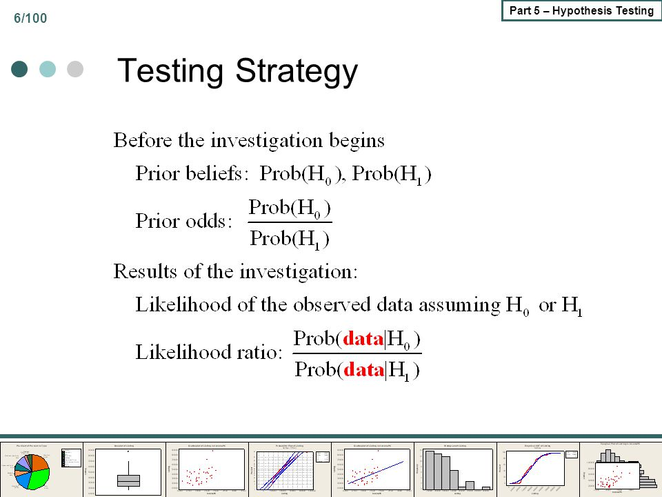 77/100 Part 5 – Hypothesis Testing Difference in Means of Two Populations Two Independent Normal Populations Common known variance Common unknown variance Different Variances One and two sided tests Paired Samples Means of paired observations Treatments and Controls – Diff-in-Diff SAT Nonparametric – Mann/Whitney Two Bernoulli Populations