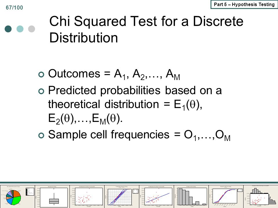 67/100 Part 5 – Hypothesis Testing Chi Squared Test for a Discrete Distribution Outcomes = A 1, A 2,…, A M Predicted probabilities based on a theoreti