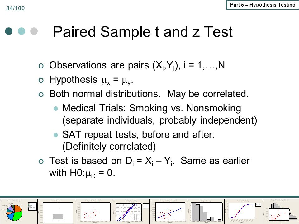 84/100 Part 5 – Hypothesis Testing Paired Sample t and z Test Observations are pairs (X i,Y i ), i = 1,…,N Hypothesis  x =  y. Both normal distribut