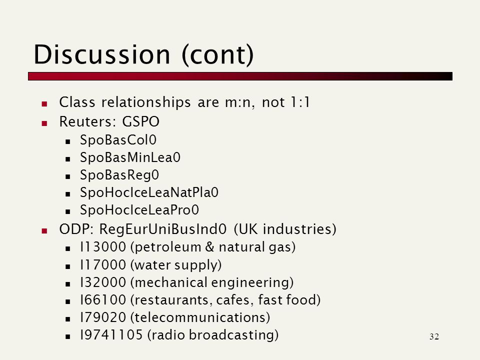 32 Discussion (cont) Class relationships are m:n, not 1:1 Reuters: GSPO SpoBasCol0 SpoBasMinLea0 SpoBasReg0 SpoHocIceLeaNatPla0 SpoHocIceLeaPro0 ODP: RegEurUniBusInd0 (UK industries) I13000 (petroleum & natural gas) I17000 (water supply) I32000 (mechanical engineering) I66100 (restaurants, cafes, fast food) I79020 (telecommunications) I (radio broadcasting)