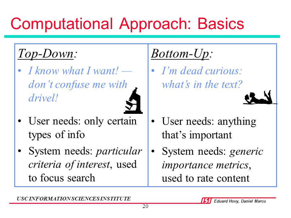 Eduard Hovy, Daniel Marcu USC INFORMATION SCIENCES INSTITUTE 20 Computational Approach: Basics Top-Down: I know what I want! — don't confuse me with d