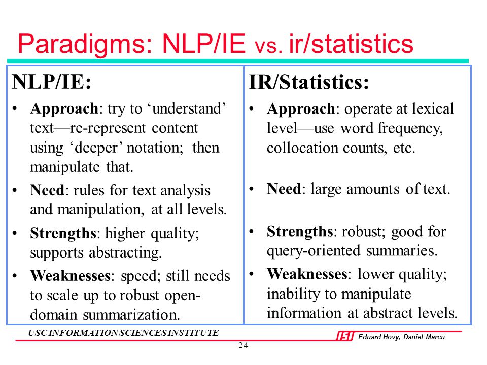 Eduard Hovy, Daniel Marcu USC INFORMATION SCIENCES INSTITUTE 24 NLP/IE: Approach: try to 'understand' text—re-represent content using 'deeper' notatio