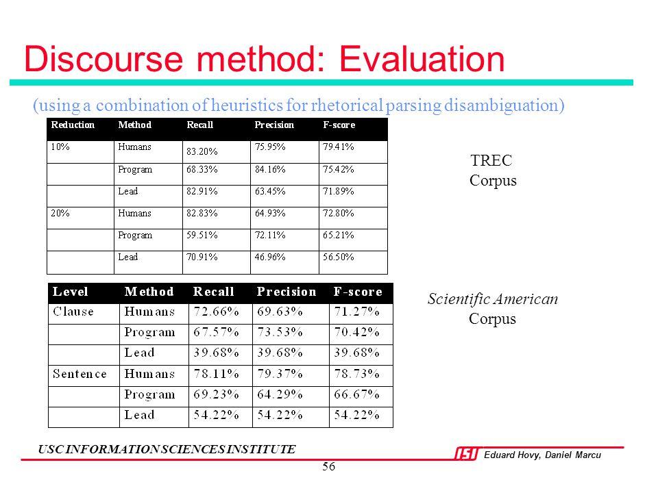 Eduard Hovy, Daniel Marcu USC INFORMATION SCIENCES INSTITUTE 56 Discourse method: Evaluation (using a combination of heuristics for rhetorical parsing
