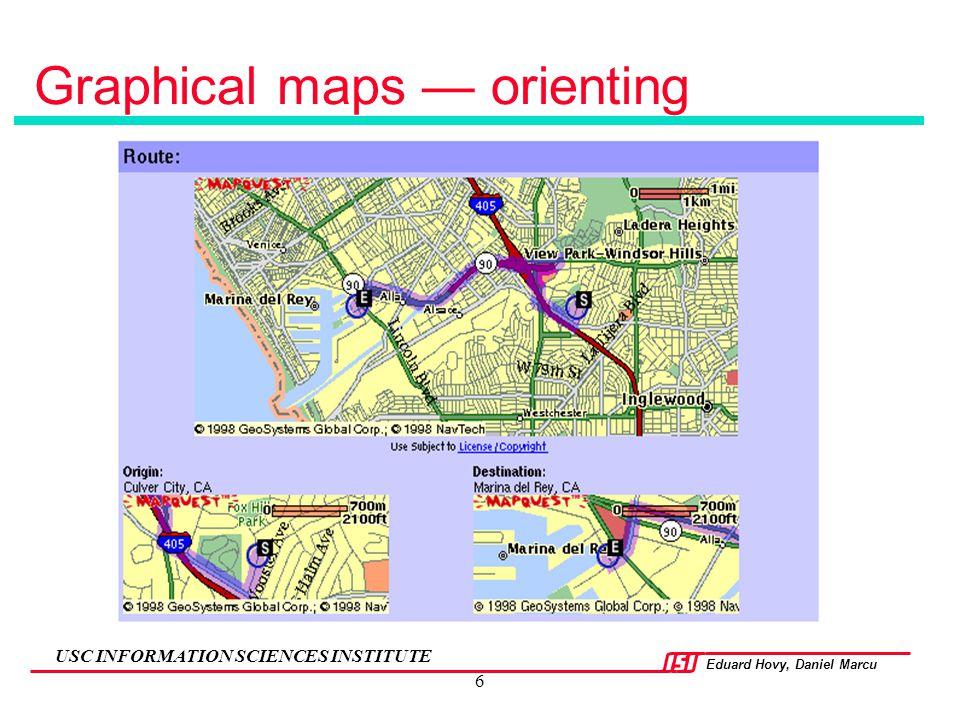 Eduard Hovy, Daniel Marcu USC INFORMATION SCIENCES INSTITUTE 6 Graphical maps — orienting