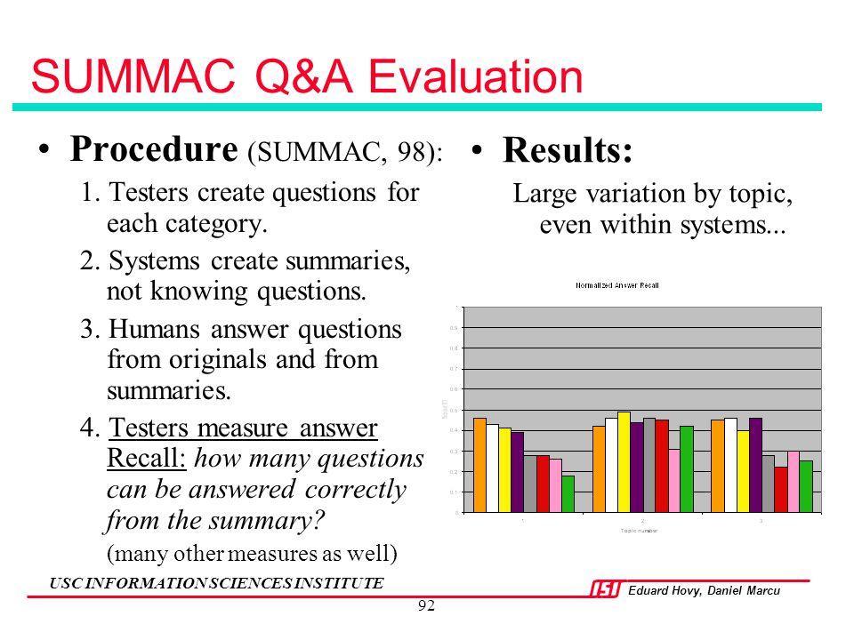 Eduard Hovy, Daniel Marcu USC INFORMATION SCIENCES INSTITUTE 92 SUMMAC Q&A Evaluation Procedure (SUMMAC, 98): 1. Testers create questions for each cat