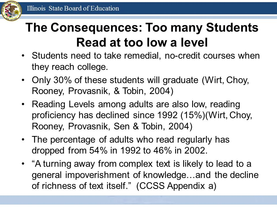 The Consequences: Too many Students Read at too low a level Students need to take remedial, no-credit courses when they reach college.