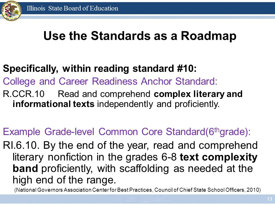 Use the Standards as a Roadmap 13 Specifically, within reading standard #10: College and Career Readiness Anchor Standard: R.CCR.10Read and comprehend