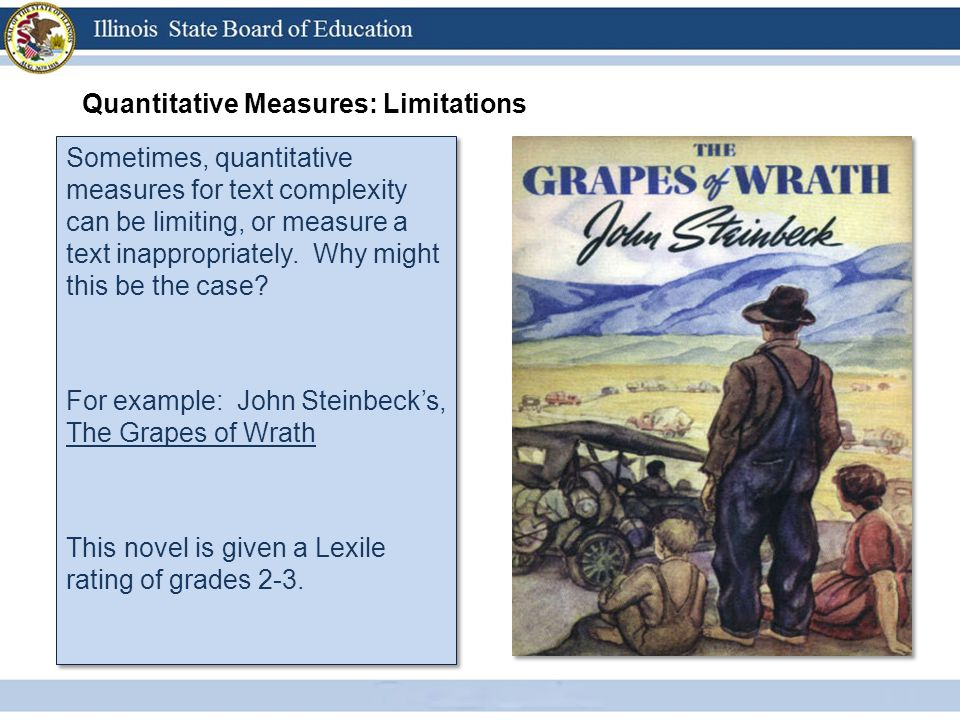 Quantitative Measures: Limitations Sometimes, quantitative measures for text complexity can be limiting, or measure a text inappropriately. Why might