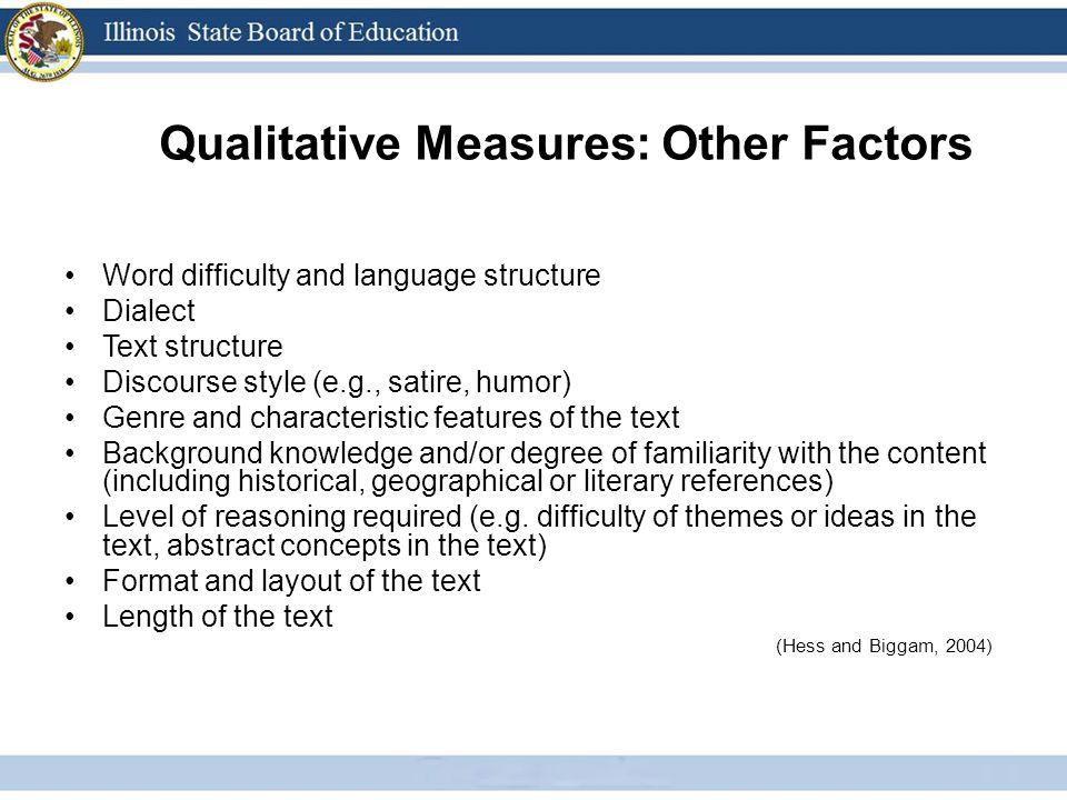 Qualitative Measures: Other Factors Word difficulty and language structure Dialect Text structure Discourse style (e.g., satire, humor) Genre and characteristic features of the text Background knowledge and/or degree of familiarity with the content (including historical, geographical or literary references) Level of reasoning required (e.g.