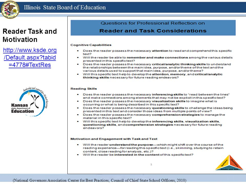 Reader Task and Motivation http://www.ksde.org /Default.aspx?tabid =4778#TextRes 18 (National Governors Association Center for Best Practices, Council of Chief State School Officers, 2010)