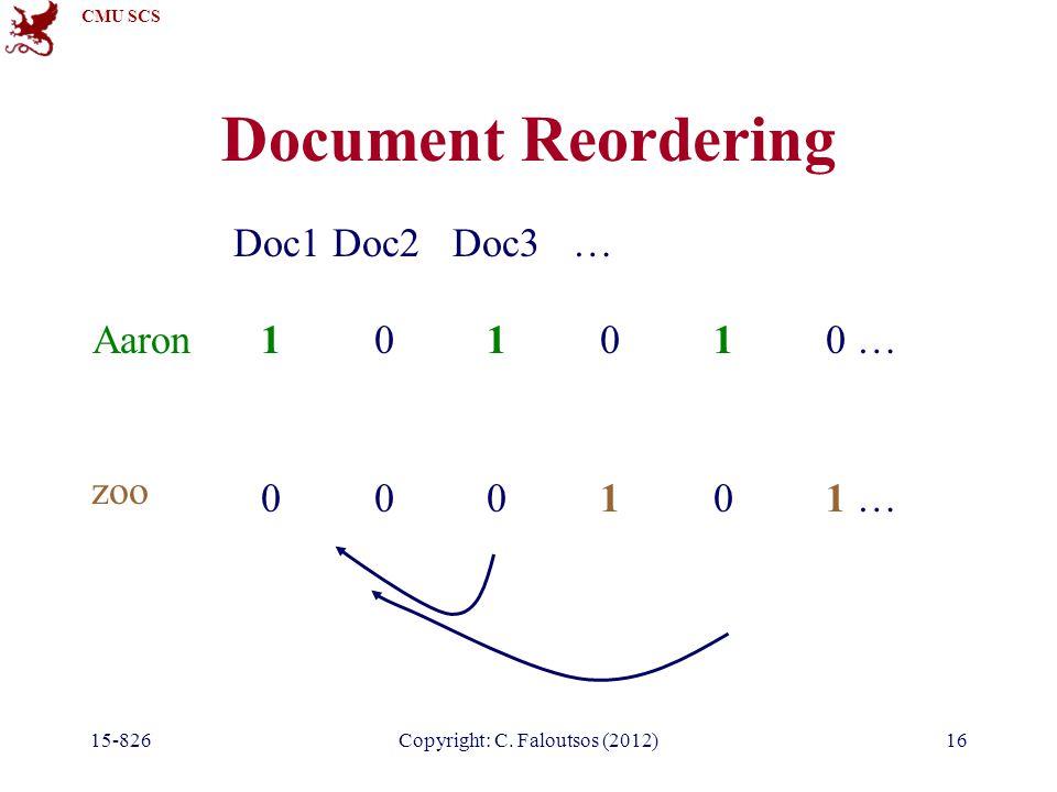 CMU SCS Document Reordering 15-826Copyright: C.