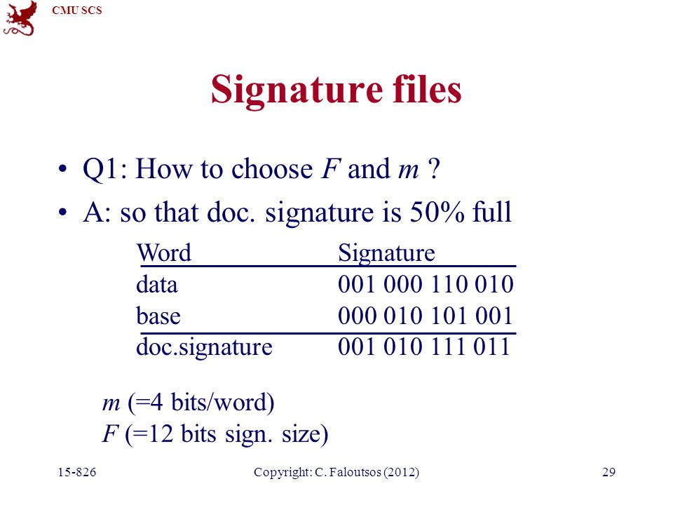 CMU SCS 15-826Copyright: C. Faloutsos (2012)29 Signature files Q1: How to choose F and m .