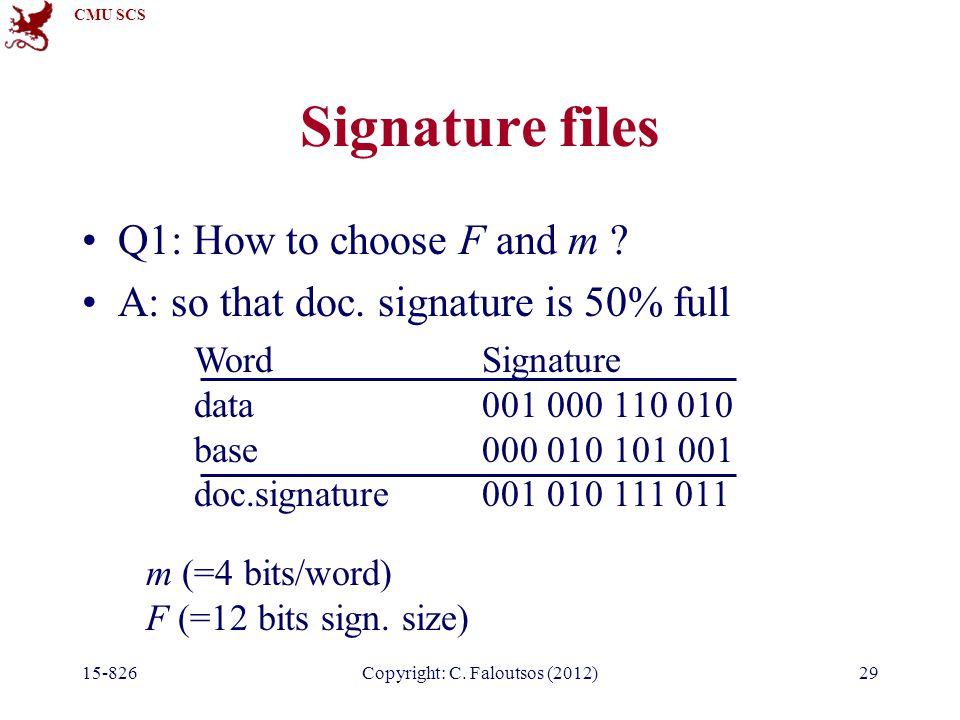 CMU SCS 15-826Copyright: C.Faloutsos (2012)29 Signature files Q1: How to choose F and m .