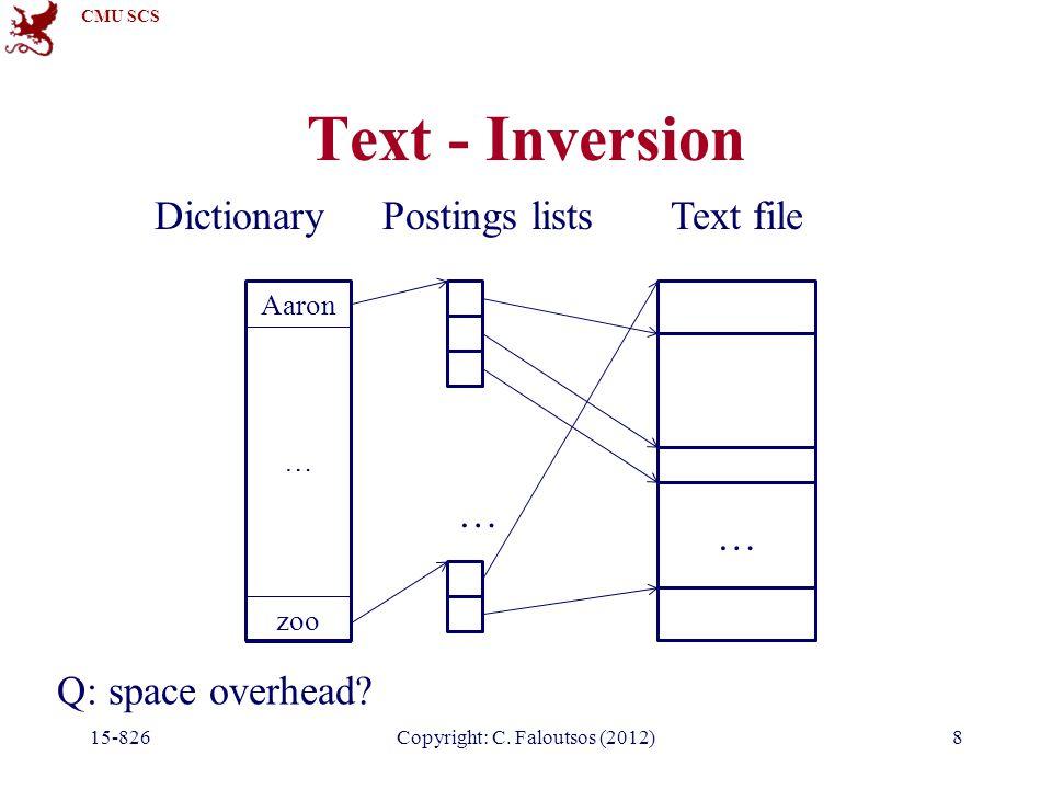 CMU SCS 15-826Copyright: C.Faloutsos (2012)8 Text - Inversion Q: space overhead.