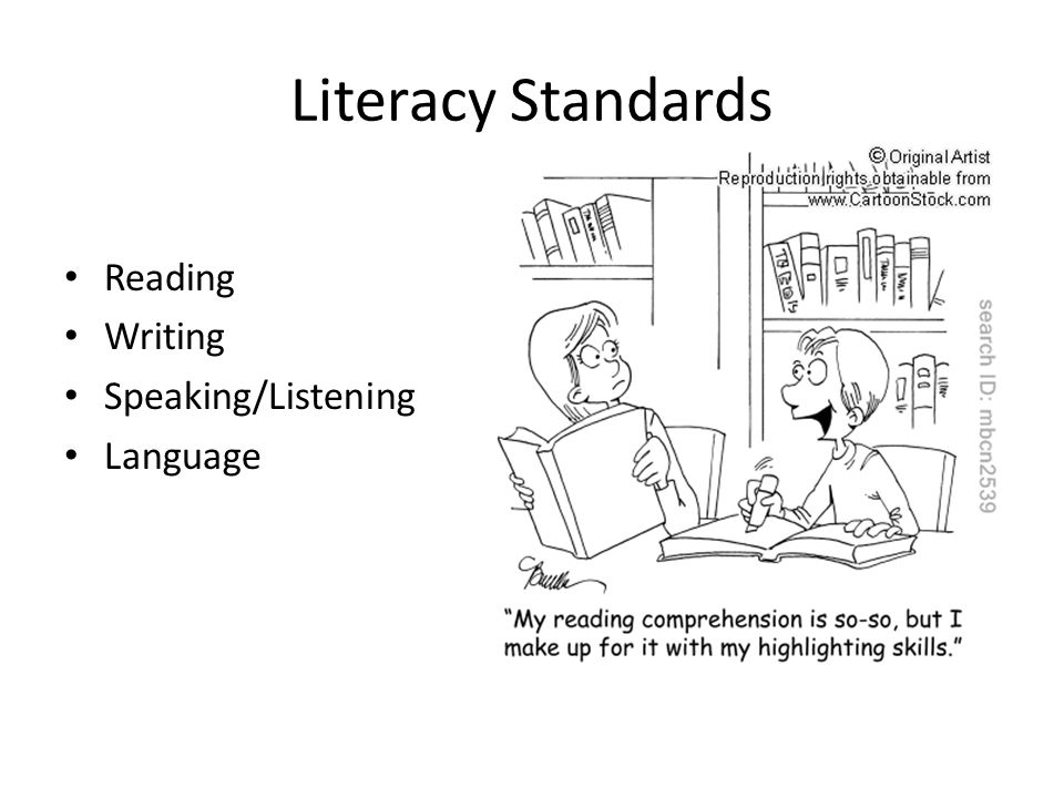 Literacy Standards Reading Writing Speaking/Listening Language